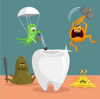 cartoon bacteria trying to damage tooth